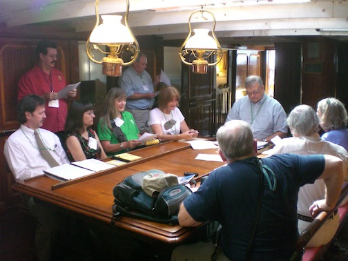 The executive committee meeting on board the STAR OF INDIA at the San Diego Maritime Heritage Conference in 2007.