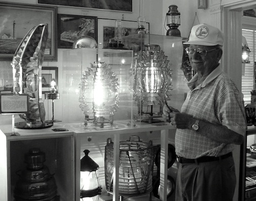 Ken Black and his collection at the Shore Village Museum. Photo by Candace Clifford, 2002