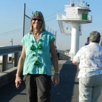 Kathy Dolinar celebrating St. Paddy's Day at Gretna Lightouse
