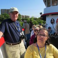Karl and Janet get settled in on Captain Paul II as the cruise begins in Clinton River and Lake St. Clair
