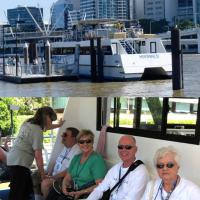 Mary, Ken and Dianne sit back and enjoy the Brisbane River cruise while Team Sherwood only have eyes for each other!