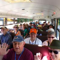 Taking the school bus shuttle from the visitor center to the lighthouse in Discovery Park