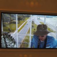 Bob Tayor in the webcam in the lantern room of Biloxi Lighthouse