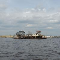 A ship that ran aground some 25 years ago in Tchefuncte River