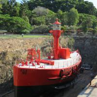 The Carpentaria Shoal Light Ship CLS2 built in 1918 and retired in 1985 is displayed in dry dock where it is being restored by Museum volunteers.