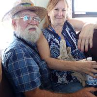 Daniel and Denise double up on a crowded ride back to the visitor center