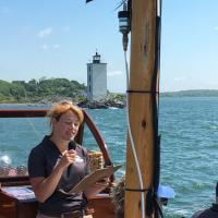Our first mate Nora - who, as she put it, practically grew up on Rose Island.