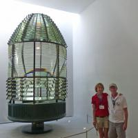 10  The Cape Ann Museum was closed for most of the year, but opened in the last summer.  Diane and Alan pose in front of its most valuable display – the First Order Fresnel Lens from the Cape Ann south tower.  Unfortunately, the north tower lens was destroyed