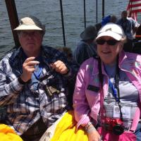 Joe & Ann getting some sun on the Rum Runner cruise