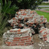 Some of the orginal bricks from the 1852 lighthouse that collapsed into the sea