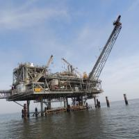 An off-shore gas platform