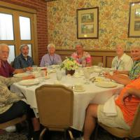 Zehnder's Restaurant is famous for their  family style chicken dinners. Patti, Steve, Ken, Sharon, Sanndy, Lin, Sandy & Bob have enjoyed dinner socialize before dessert.