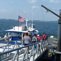 After a delay caused by Homeland Security briefly closing Boston Harbor, we boarded our ride to Little Brewster Island.