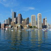 The Boston skyline is dotted with tall buildings.  We were told that none of these were there when JFK was president