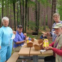 One of the many rest stops along our route provided a perfect place for lunch.  Sandy, Bob, Carole & Dave found a picnic bench and enjoyed one of our box lunches.