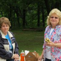 Norma and Ruth found a spot to sit and spread out lunch.