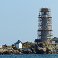Construction delays resulted in the Boston Harbor Lighthouse still being surrounded by scaffolding.  Rather than being disappointed, we reveled in the fact that we were the only group that was allowed on the island all year, thanks to the cooperation of the Coast Guard and National Park System.