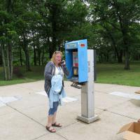 Lo and behold, Sherri found an antique phone at our lunch rest stop.
