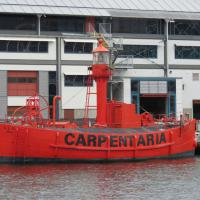 The Carpentaria Light Vessel CLS4, built in 1918, is moored at the wharf behind the Museum.