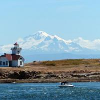 Patos Island Lighthouse sits on the northernmost island of the San Juan Islands