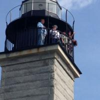 Larry, Joan, Jeff & Lanie at the top of Beavertail Lighthouse