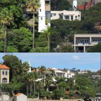 Vaucluse Bay Leading Lights are also known at the Eastern Channel Leading Lights. The current towers built in 1910 are located in the gardens of residents.  Left:  Vaucluse Bay Range Front Light, Right: Vaucluse Bay Range Rear Light and Bottom:  A distant view of both lights