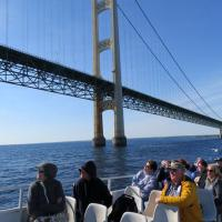 Mackinac Bridge is the 5th largest suspension bridge in the U.S.  We passed under the bridge traveling west to view Old Mackinac Point Lighthouse.