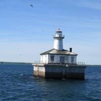 The Fourteen Foot Shoal crib foundation was built on land and towed into place.  The station was designed to be radio controlled from Poe Reef Lighthouse.  Until the system could be proven, a keeper was stationed at the light, but could have nothing to do with the function or operation.