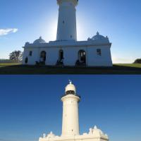 Macquarie Lighthouse is run by the Australian Maritime Safety Authority. The front view is on top and back view on bottom.  This lighthouse houses a Chance Brothers fourth order lens