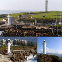 The Wollongong Harbour is located at the end of the breakwater on the southeast side of the harbour.  The Wollongong Head Light is on Flagstaff Point surrounded by old gun emplacements.