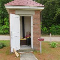 An interesting site on the grounds of the 40 Mile Point Lighthouse was the two-seat outhouse which at the time was occupied!  Fortunately not by anyone on the tour!