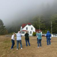 A photo line for the Slip Point Lighthouse keepers' residence
