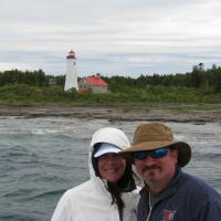 Megan and Rich enjoying the cruise to the Thunder Bay Lighthouse