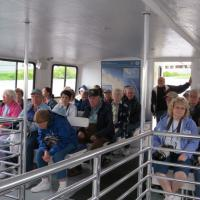 Aboard our cruise on a glass-bottom boat to Thunder Bay we listened a history of shipwrecks in the bay as well as the lighthouse