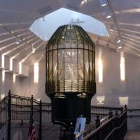 The lens building displays the stunning Destruction Island Lighthouse lens
