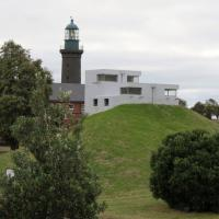 Shortland Bluff Rear Light or Black Light is on the grounds of the Fort Queenscliff Museum.