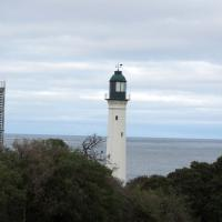 The Shortland Bluff Front Lights as seen from the back include the Hume Tower (right), Queenscliff Low or White Light (middle) and the Murray Tower (left).
