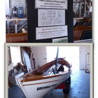 The Coast Guard surf boat replica is on display in the Boat House Museum