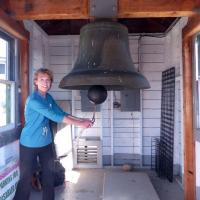 Diane rings the famous fog bell that uses a bowling ball as a clapper!