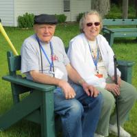 Lee & Sylvia enjoy the bench at Sturgeon Point