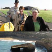 Top:  Hendrik, Judy and Clorinda are the first team to take the optional helicopter flight over the 12 Apostles.  Bottom:  Flying over London Bridge which collapsed in 1990 leaving two people stranded on the newly formed island.