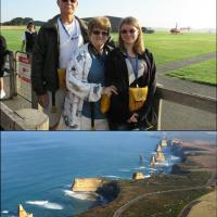 Top:  Jerry, Marjie and Cassandra ready to go.  Bottom:  The marvelous 12 Apostles and the Great Ocean Road.