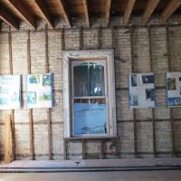 The walls have been taken down to the studs.  Windows and roof have already been replaced.  Volunteers will continue with the restoration and hope to have it finished in late 2015.