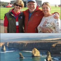 Top:  Judy, Guy and Wanda waiting for their flight instructions.  Bottom: A bird's eye view of the stunning coastline.