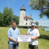 Patrick and Don, members of the Saginaw Marine History Society, met us the main street in Saginaw. They were standing on a street corner holding the sign.  We picked them up and they accompanied us to the lighthouse.