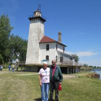 Sharon and Ken posed in front of Saginaw River Rear Range light on another beautiful sunny day