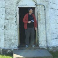 Fran in the doorway at the Point Judith