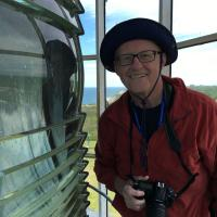 Fran and his reflection at the Block Island SE Lighthouse