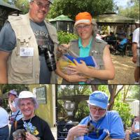 Top:  Matt and Leann with joey (baby Kangaroo), bottom left:  Marguerite holds a Ringtail Possum, bottom right:  Guy's turn to hold baby Kangaroo.