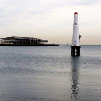 Port Melbourne Front Leading Light is located on piles and guides ships through Hobson's Bay into the Port Melbourne piers.